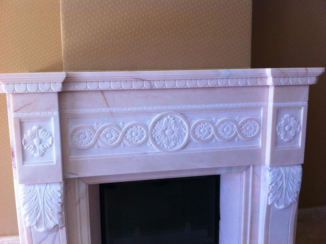 Мраморный камин из мрамора Pink Portugal-10