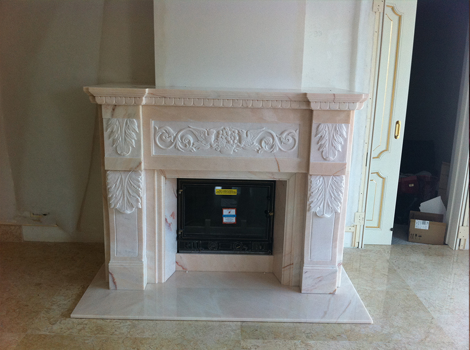 Мраморный камин из мрамора Pink Portugal