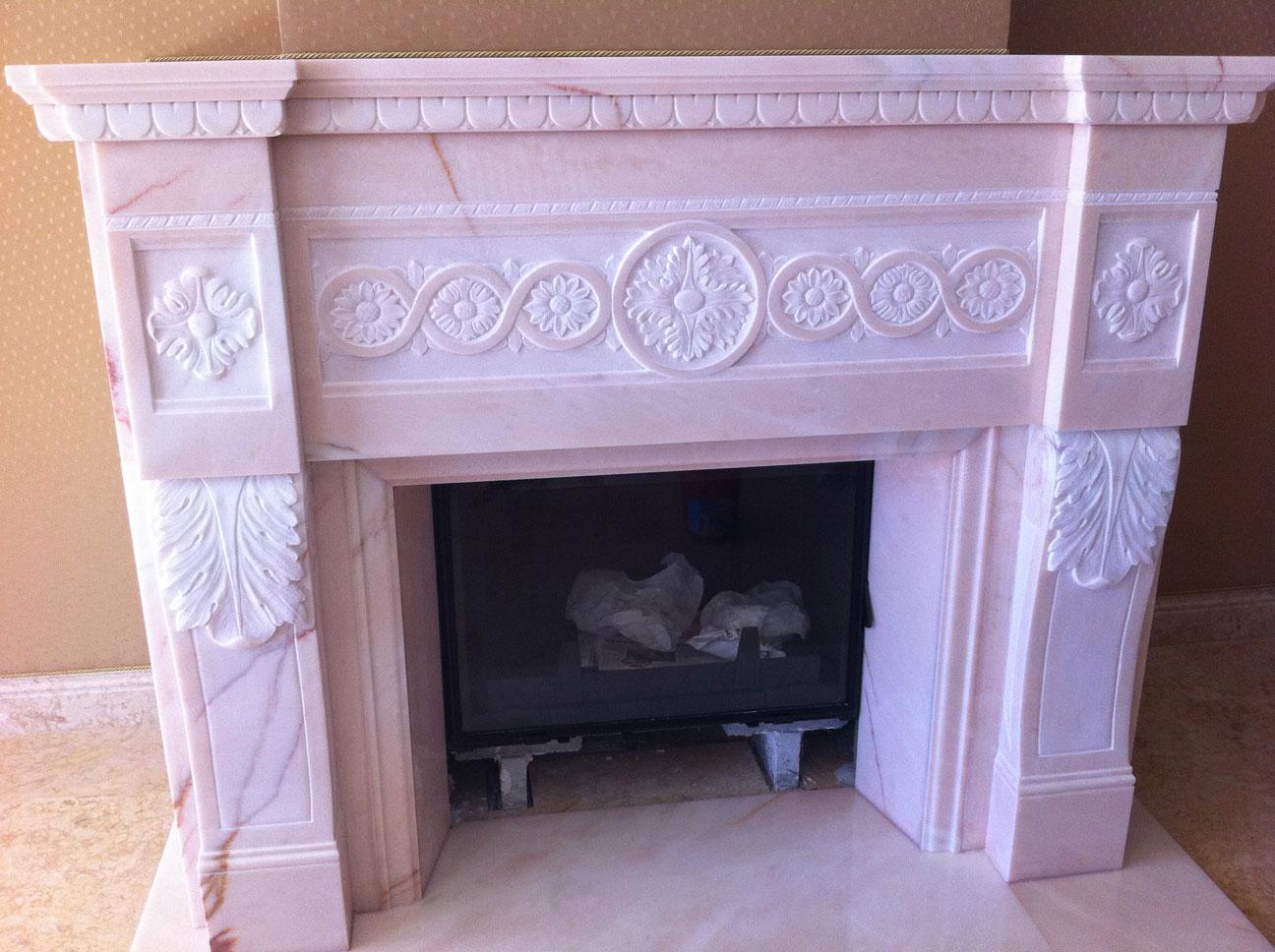 Мраморный камин из мрамора Pink Portugal-5