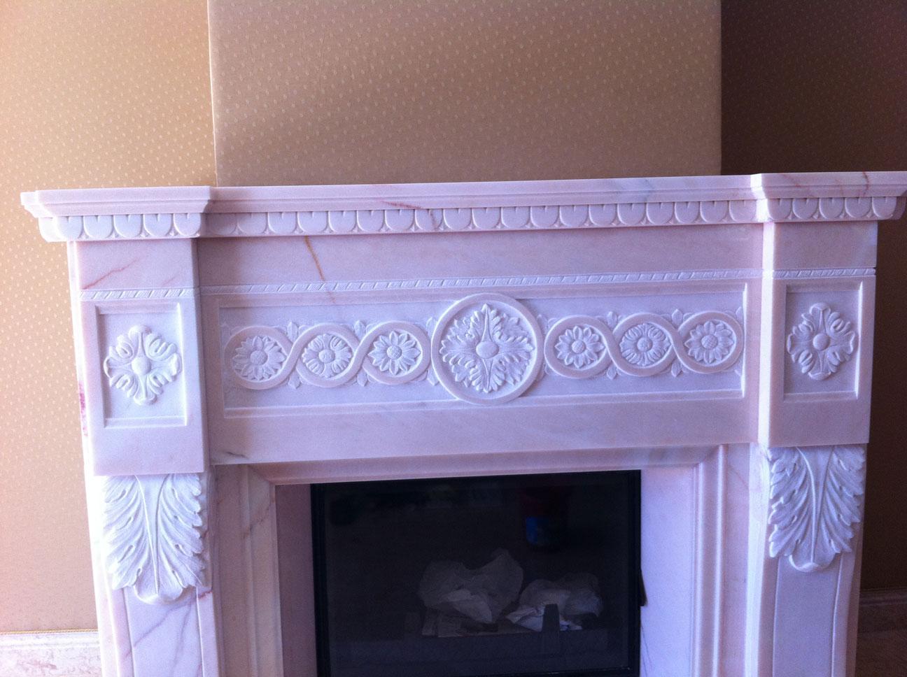 Мраморный камин из мрамора Pink Portugal-6