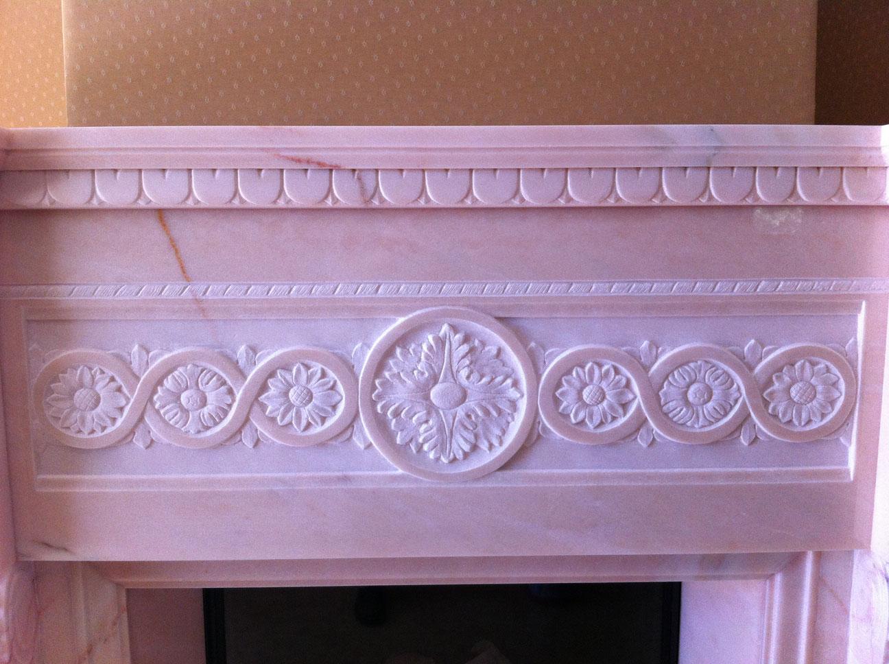 Мраморный камин из мрамора Pink Portugal-7