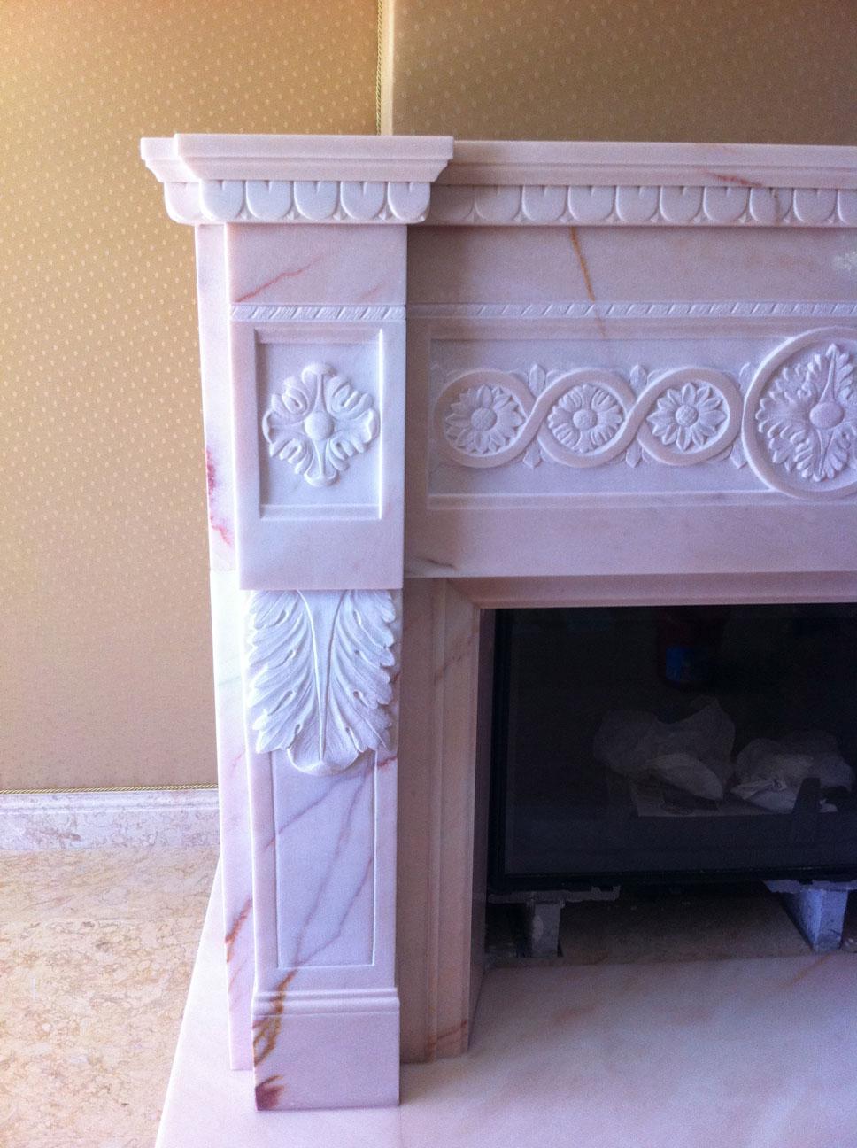 Мраморный камин из мрамора Pink Portugal-8