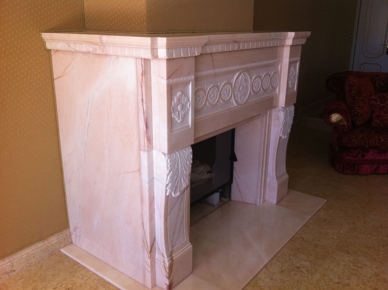 Marble Fireplace in Pink Portugal-1