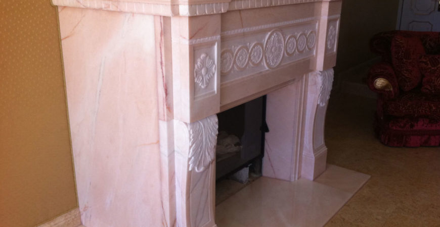 Marble Fireplace in Pink Portugal