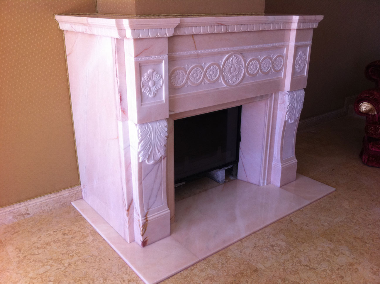 Marble Fireplace in Pink Portugal-11