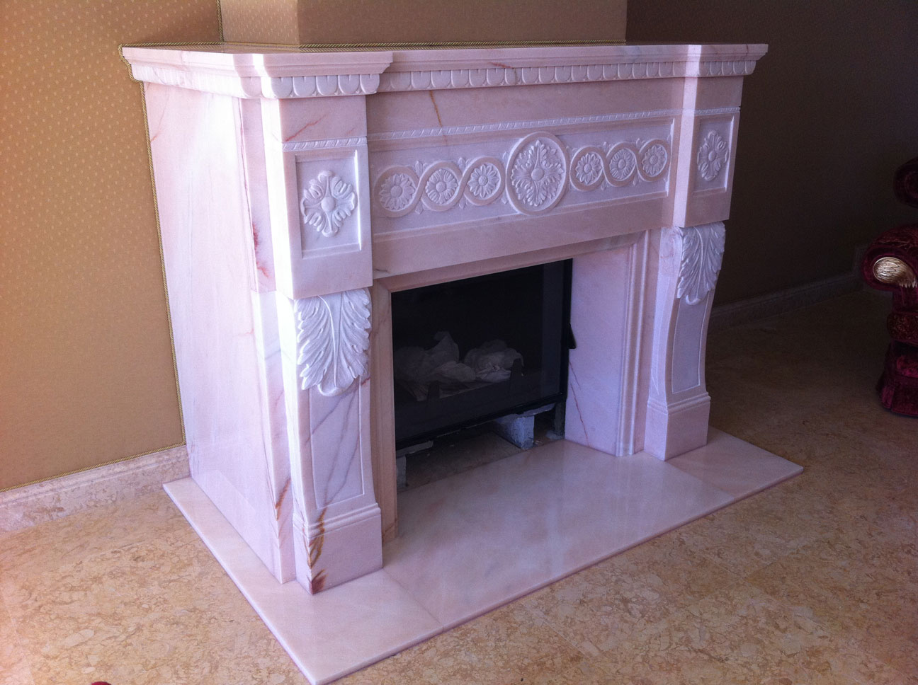 Marble Fireplace in Pink Portugal-4