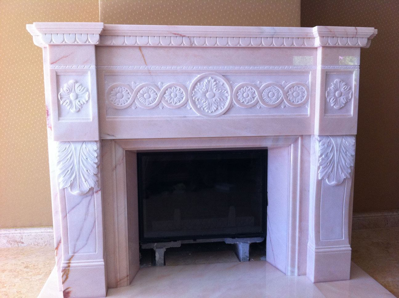 Marble Fireplace in Pink Portugal-9