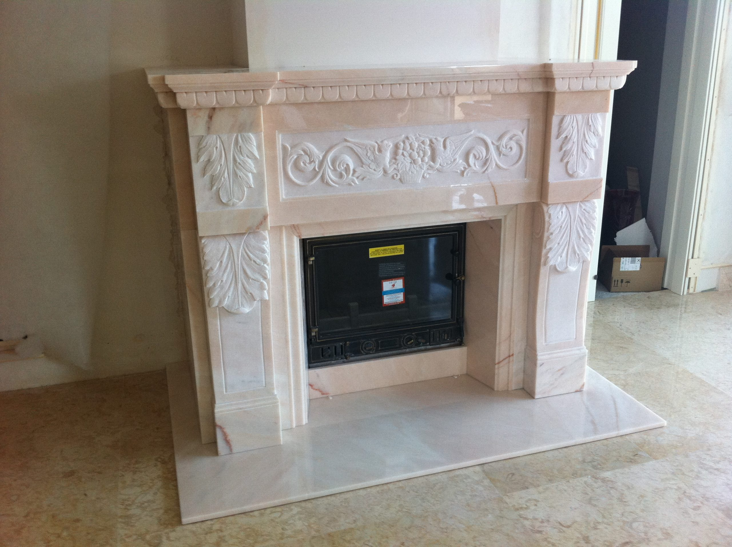 Marble Fireplace realized in Pink Portugal 3