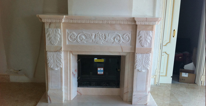 Marble Fireplace realized in Pink Portugal
